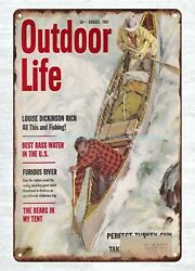 Vintage Reproduction Signs Sale 1961 Outdoor Life Stream Canoe Metal Tin Sign