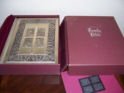 Franklin Mint Library King James Bible W/ Silver Covers -queen Mary Psalter