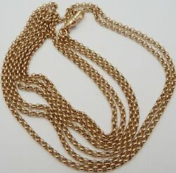 Antique 60 Inch Long 9ct Rose Gold Muff Guard Chain Necklace Weighs 36 Grams.