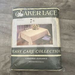 Vintage Quaker Lace Tablecloth 70andrdquo Round 100 Polyester Care Free Elegance Nip