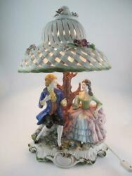 Capodimonte Vintage Victorian Couple Tree 2800 Figurine Lamp And Porcelain Shade