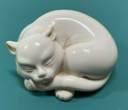 Vintage 1986 Netsuke Cat The Franklin Mint Curio Cabinet Collection Kitten White