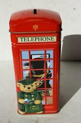 Harrods Red Telephone Kiosk Cookie Biscuit Tin Coin Bank Dolly Mix Buttons Bears