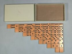 Vintage Cardinal Catalin Dominoes Butterscotch Double 6 In Plastic Box