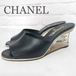 Difficult To Obtain Crystal Wedge Sandals Black Size Women 6.5us