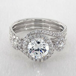 1.60 Ct Round Cut Real Diamond Wedding Ring Solid 14k White Gold Size 6.5 7 8 9