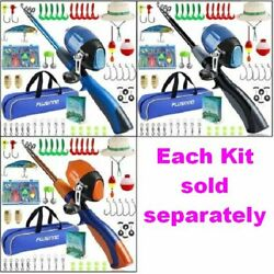 Kids Portable Telescopic Fishing Pole And Spincast Reel Kit With Hat Tackle And Bag