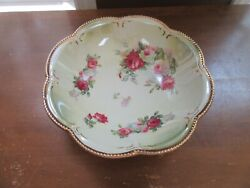 Vintage American China Co Beaded Gold Vegetable Bowl Floral 11quot;