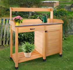 Potting Bench Table Garden Patio Work Planting With Storage Shelf Drawer Outdoor