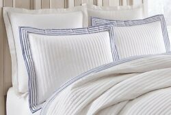 Southern Living Colby Full Queen Coverlet Quilt Set White Blue Cotton New