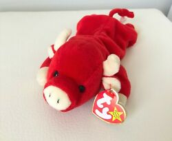 Rare Original Beanie Baby Snort The Red Bull, New With Tag
