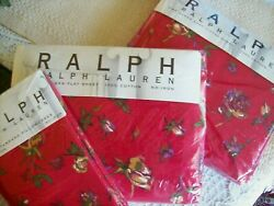 Ralph By Studio Vintage Muse Red Rosebud Floral Queen Sheet Set