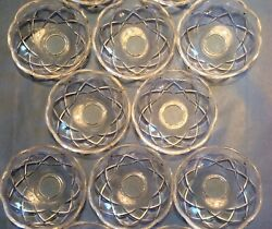 8 Vintage Clear Glass Bobeches For Chandeliers Cross Pattern 3 7/8andrdquo X 1 1/4andrdquo