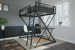 Twin X Loft Metal Bed Frame With Integrated Desk And Shelves Workstation