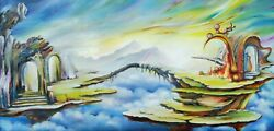Original Oil Painting Dreamland Landscape Abstract Realism Sky Island Fantasy