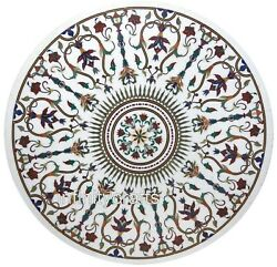 48 Inch Marble Dining Table Top Mosaic Art Reception Table For Hotel And Offices