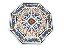 42 Inch Marble Dining Table Top Marquetry Art Conference Table For Office Decor