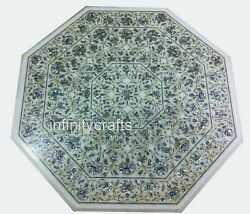 36 Inch Marble Dining Table Top Floral Design Inlaid Center Table For Home Decor