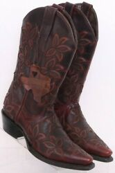 Texas Country Brown Leather Inlay Pull On Snip Toe Cowboy Western Women's Us 6