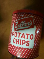 Vintage Zeller's Potato Chip Can 1lb Size Highspire Pa 8.25x9.5in