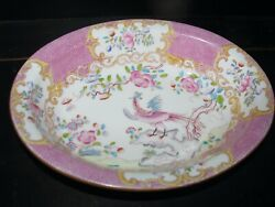 Minton Pink Cockatrice Bowl Dish Oval Serving 7 X 9 9646 Antique China