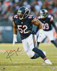 Monster Of The Midway Khalil Mack Chicago Bears Signed Football 16x20 Poster