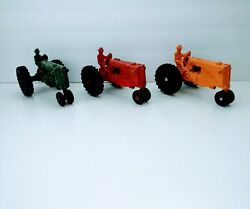 3 Antique Minneapolis Moline Mm Toy Tractor Lot Red Yellow Green Complete