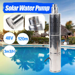 48v 3l/h 120m Deep Well Pump Solar Submersible Powered Water Pond Fountain Us