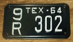 Rare 1964 Texas Motorcycle License Plate 9r 302 - Vintage Minty Hard To Find Tag