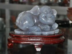 7china Fengshui Natural Agate Carved Zodiac Animal Pig Money Coin Wealth Statue