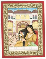 Mughal Miniature Painting Of Mughal Empress Looking In Mirror And Adjust Her Hair