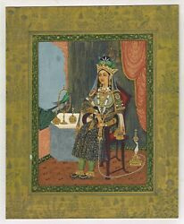 Miniature Portrait Of A Mughal Empress - Old Mughal Painting Gold And Gouache Art