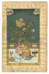 Mughal King And Queen In Love Art Scene - Old Mughal Painting Gold And Gouache Art