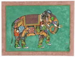 Indian Miniature Painting Of Composite Elephant Art - Gold And Gouache On Paper