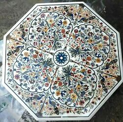 48 Inches Marble Dining Table Marquetry Art Restaurant Table For Hotel And Bars