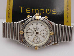 Breitling Chronomat Chronograph B13047 Steel And 18 Kt Gold Year's 90s Watch