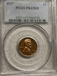 1937 Pf65 Lincoln Cent Wheat Penny Proof Pcgs Pr 65