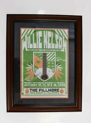 Willie Nelson Signed Autographed Framed And Matted Fillmore Poster Jsa Coa