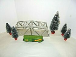 Marx Train Steel Bridge With Trees And One Boxcar Vintage O Gauge