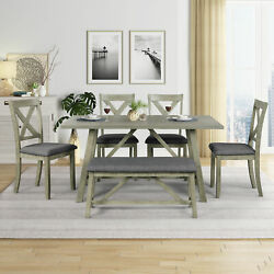 Us 6pcs Rustic Style Wood Dining Table Set Kitchen Dining Tableand 4chairs +bench