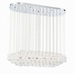 Transitional 12-light Oval Chandelier With Clear Hand Made Glass - 12 X 19.75