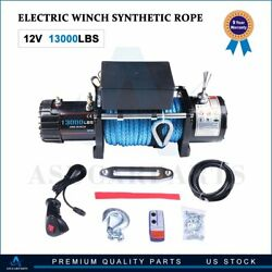 13000lbs Electric Winch 12v Waterproof Boat Synthetic Rope Kit Remote Control