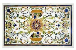 36 X 60 Inches Marble Dining Table Top Inlay Floral Design Center Table For Home