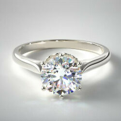 Solitaire Round 0.50 Ct Real Diamond Wedding Ring 14k White Gold Size 5 6 7 8 9