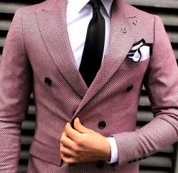Designer Business Checked Red White Suit Double Row Fitted Shirt Slim