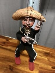 Vintage Hand Made Marionette 14 Puppet Mexican Cowboy Sombrero Untangled Works