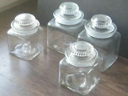 4 Antique Dakota Style Glass Ground Stopper Square Apothecary Canister Jars