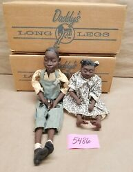 Lot Of 2 Daddy's Long Legs Sofie And Junior Black Americana Dolls W/original Boxes