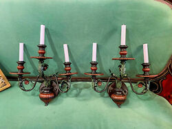 Pair Of Hand Painted Chinoiserie Chic Wall Sconce Lamps With Three Light