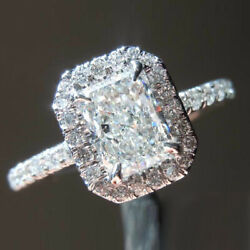 Elegant 0.91 Ct Real Diamond Anniversary Ring Solid 14k White Gold Size 5 6 7 8